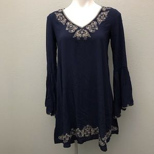 Embroidered Boho bell sleeve Navy tunic dress